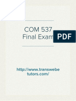 COM 537 Final Exam | COM 537 Final Exam Answers - Transweb E Tutors