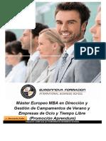 Máster Europeo MBA en Dirección y Gestión de Campamentos de Verano y Empresas de Ocio y Tiempo Libre (Promoción Aprendum)