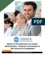 Master en Procedimientos de Gestión Administrativa + Titulación Universitaria en Plan General de Contabilidad