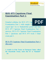 BUS 475 Capstone Final Examination Part 1 - BUS 475 week 3 final exam part 1 at Studentwhiz