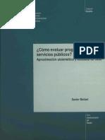 Xavier Ballart. Cómo evaluar Programas y Servicios Públicos