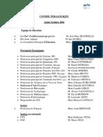 Membres Conseil Pédagogique 2016