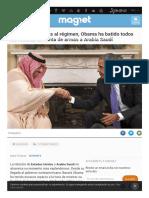 Pese a Sus Críticas Al Régimen, Obama Ha Batido Todos Los Récords de Venta de Armas a Arabia Saudí