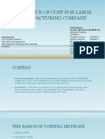 Relevance of Cost for Large Manufacturing Company