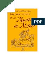 Essai Sur Le Culte Et Les Mysteres de Mithra - Gasquet