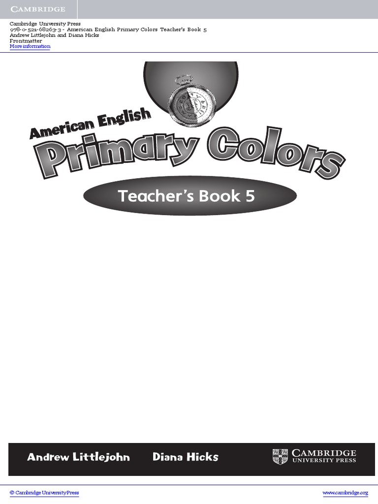american english primary colors level5 pre in service teacher training teachers book frontmatter verb adjective