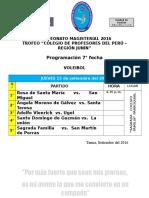 CAMPEONATO MAGISTERIAL 2016 - Programación 7ma Fecha - Voleibol