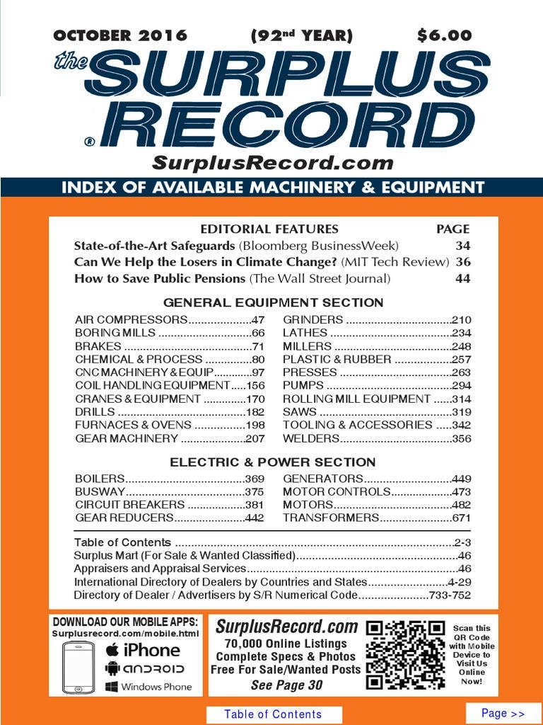 October 2016 Surplus Record Machinery Equipment Directory Bridge Amplifier Using Tda 4935