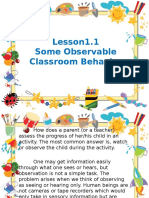 Some Observable Classroom Behavior
