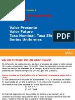 INGECO3. Unidad 1 Valor Presente, Valor Futuro, Tasa Nominal y Efectiva, Series Uniformes