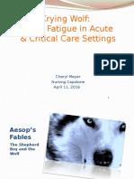 Alarm Fatigue in Acute and Critical Care Settings
