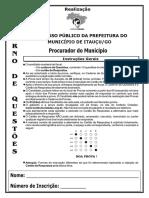 Instituto Cidades 2015 Prefeitura de Itaucu Go Procurador Do Municipio Prova