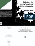 Fábricas Del Sujeto. Ontología Se La Subversion. Antonio Negri