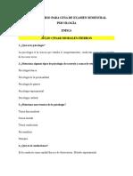 Cuestionario Para Guia de Examen Semestral Psicología
