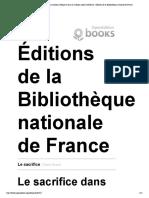 Le Sacrifice - Le Sacrifice Dans La Tradition Védique Et Dans La Tradition Judéo-chrétienne - Éditions de La Bibliothèque Nationale de France