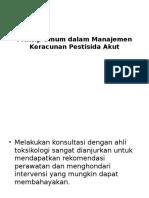 Prinsip Umum Dalam Manajemen Keracunan Pestisida Akut