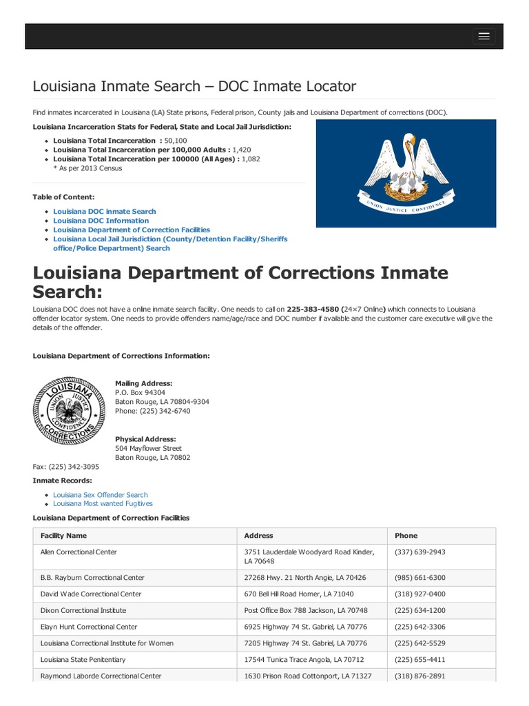 Louisiana inmate search department of corrections lookup