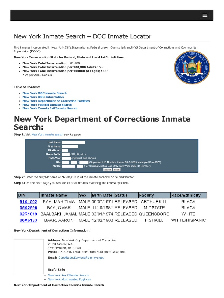 New york inmate search department of corrections lookup publicscrutiny Image collections