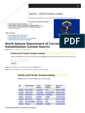 North Dakota Inmate Search Department of Corrections Lookup | North