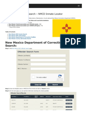 New Mexico Inmate Search Department of Corrections Lookup