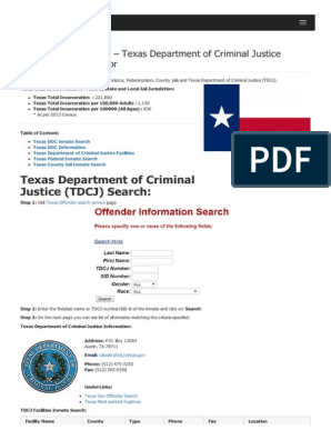 Texas Inmate Search Texas Department of Criminal Justice