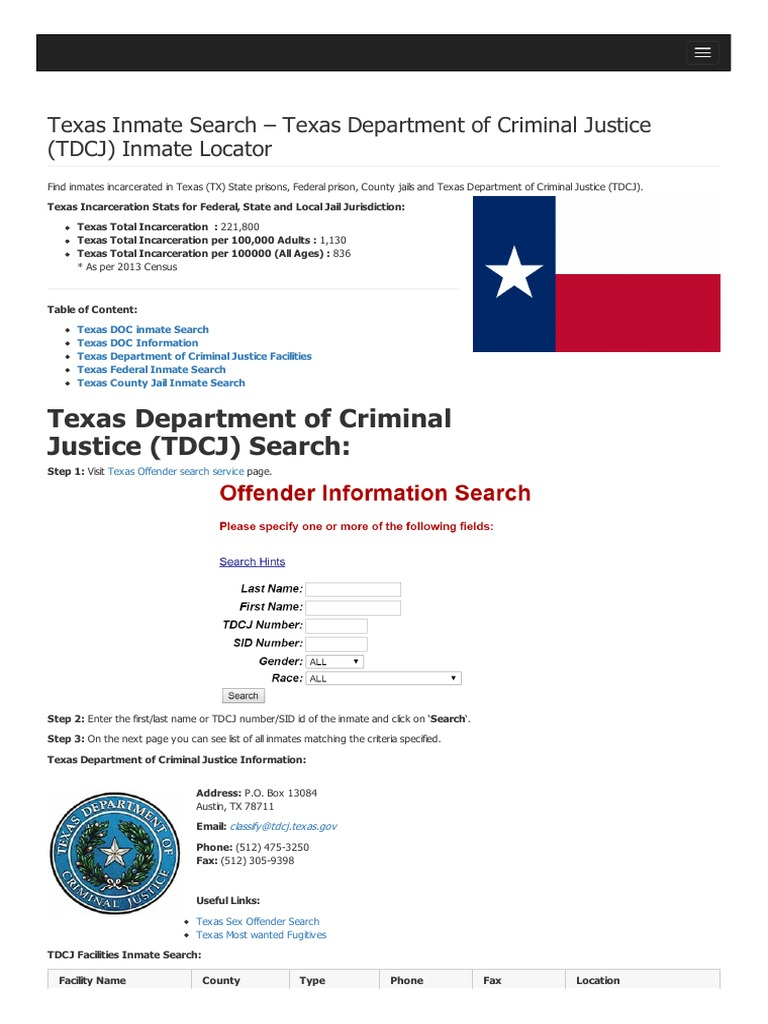 Texas inmate search department of criminal justice