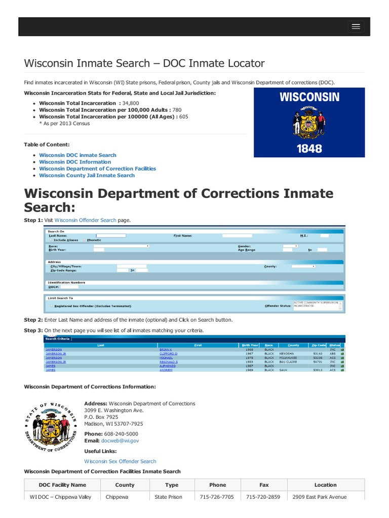 Wisconsin inmate search department of corrections lookup publicscrutiny Choice Image
