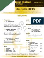 Menu Des Fêtes 2016