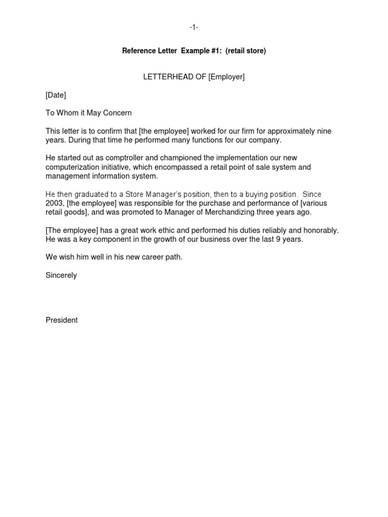 letter of reference for employee