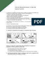 Cinco Questões de Língua Portuguesa - Simulado Para o 6º Ano a-b