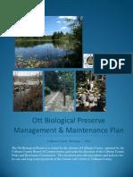 Ott Biological Preserve Management and Maintenance Plan