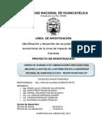 Diseño de Un Modelo de Comunicaciones Unificadas Para Mejorar La Gestion de La Informacion en La Universidad Nacional de Huancavelica 2014 – Region Huancavelica