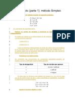 Ejemplo 1 Metodo Simplex