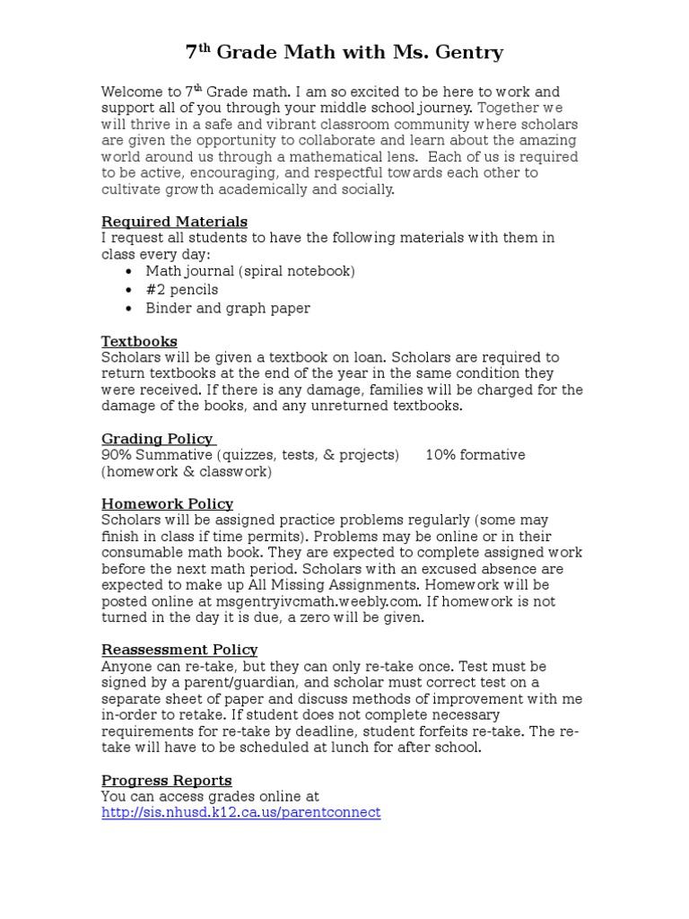 7th grade math management plan   Homework   Textbook