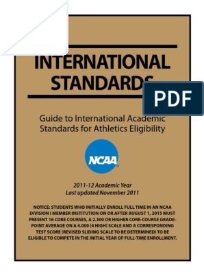 International Academic Standards For Ncaa Grading Education National Collegiate Athletic Association