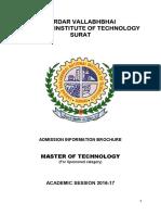 SVNIT Brochure MTech Sponsored Category Admissions July2016