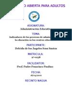 Tarea de Unidad 3 Indicadores de Los Procesos de Administracion de La Educacion