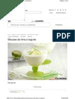 Www.teleculinaria.pt Receitas Mousse de Lima e Iogurte