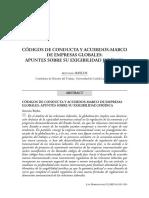 BAYLOS, Antonio. Códigos de Conducta y Acuerdos-Marco de Empresas Globales. Apuntes Sobre Su Exigibilidade Jurídica