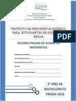 Segunda Prueba de Avance de Matemática - Segundo Año de Bachilllerato - PRAEM 2016