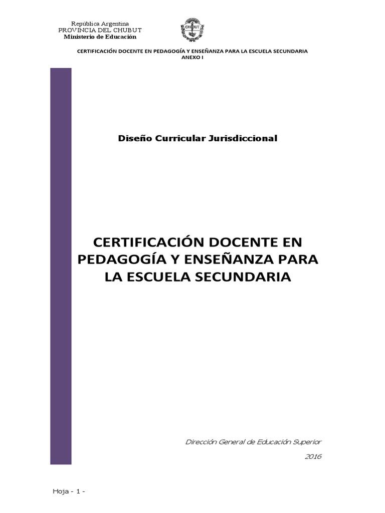 DC Certificacion en Pedagogia y Ensen Anza Para La EscSec