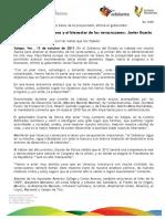 13 10 2011 - El gobernador Javier Duarte de Ochoa dio entrevista a medios de comunicación.
