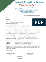 Carta de La Iglesia Principe de La Paz
