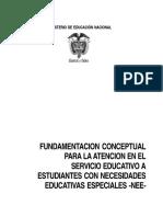 FUNDAMENTACIÓN CONCEPTUAL Necesidades Educativas Especiales