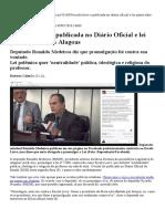 'Escola Livre' é Publicada No Diário Oficial e Lei Passa a Valer Em Alagoas