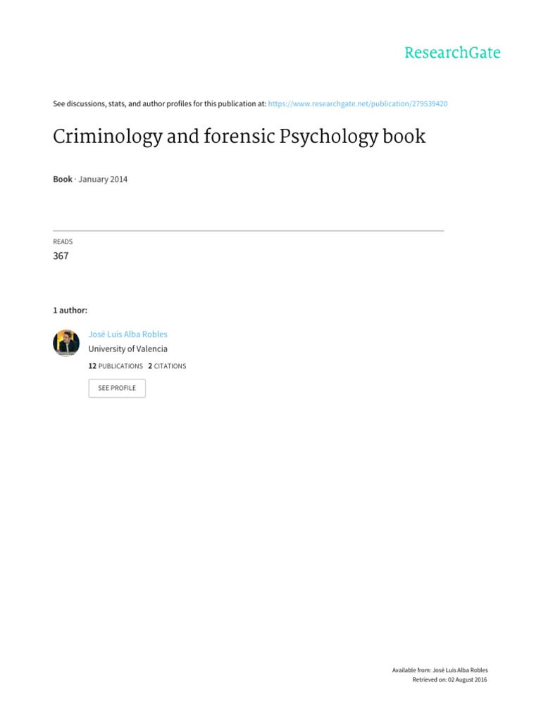 Criminology And Forensic Psychology Pdf Offender Profiling Serial Killer