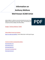 Anthony Mellone Scam Artist