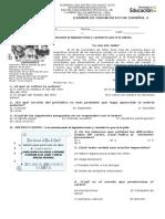 Examen de Diagnóstico de Español 2. Secundaria