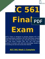 ACC 561 Final Exam - Accounting 561 Final Exam | UOP E Tutors