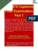 BUS 475 Capstone Final Examination Part 1 Question - UOP E Tutors